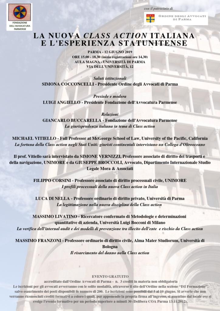 LA NUOVA CLASS ACTION ITALIANA E L'ESPERIENZA STATUNITENSE